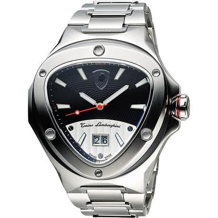Tonino Lamborghini 藍寶堅尼 Spyder倒三角日期腕錶-黑銀/48mm TL3021