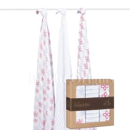 美國Aden + Anais Bamboo竹纖維毯子包巾(三條包裝)繽紛花園系R900