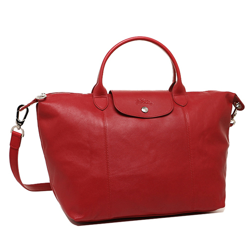 Longchamp 小羊皮可摺疊二用包_短把/中/紅色