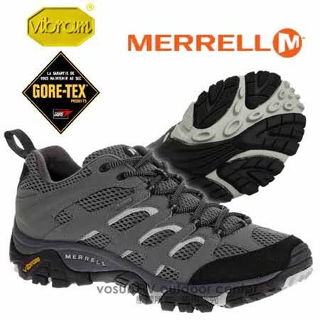 【美國 MERRELL】男新款 Moab GORE-TEX XCR 專業防水透氣登山健行鞋_輕量級/自行車.野外探險.Vibram大底_灰/淺灰 ML32539