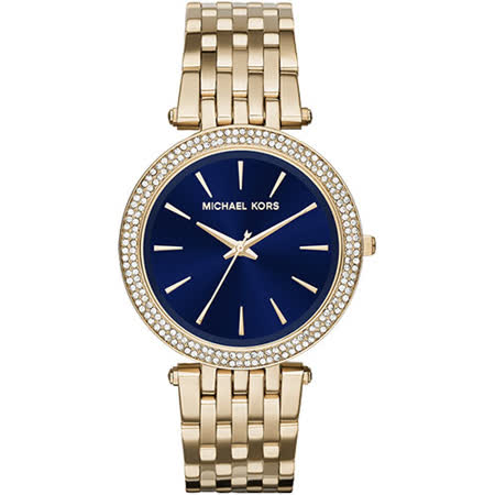 Michael Kors 歐風晶鑽錶-藍x金/39mm MK3406
