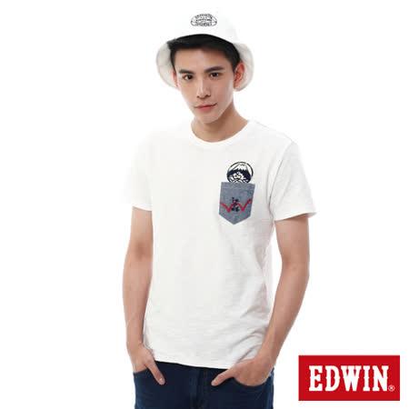EDWIN 江戶勝貼袋T恤-男-米白色