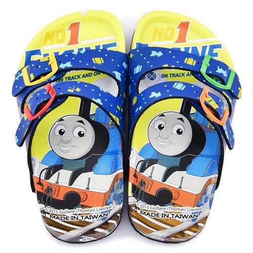 童鞋城堡-湯瑪士 中童 亮麗軟木風格拖鞋TH1556-藍