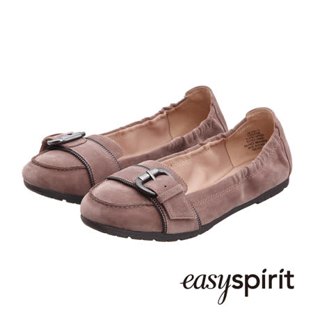 Easy Spirit 成熟簡約柔軟皮革釦飾平底鞋--淺咖啡