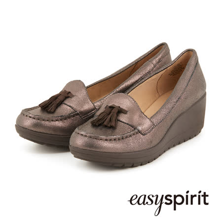 Easy Spirit--舒適厚底流蘇樂福鞋-古銅色
