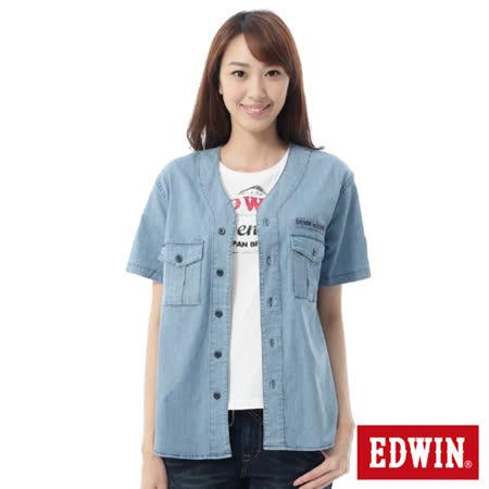 EDWIN 棒球裝概念襯衫-女-石洗藍