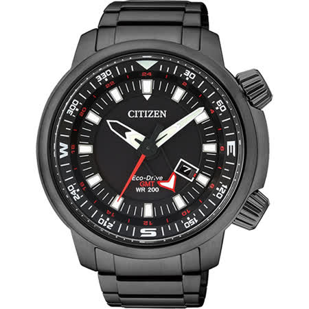 CITIZEN PROMASTER 光動能雙時區腕錶-黑/46mm BJ7086-57E