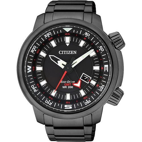 CITIZEN PROMASTER 光動能雙時區腕錶~黑46mm BJ7086~57E