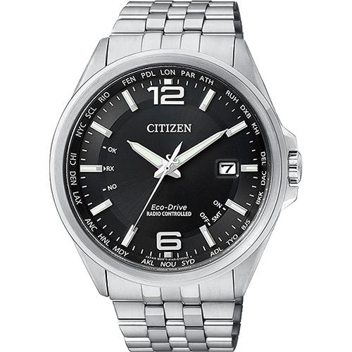 CITIZEN Eco~Drive光動能萬年曆電波錶~黑43mm CB0011~77E