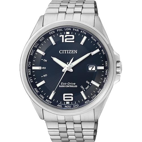 CITIZEN Eco~Drive光動能萬年曆電波錶~藍43mm CB0011~77L