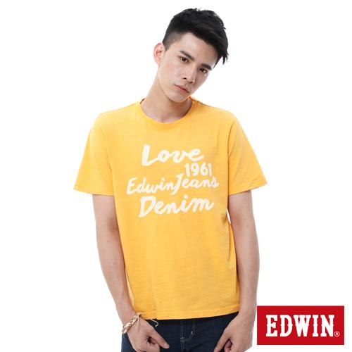 EDWIN 虛線印字T恤~男~桔黃色
