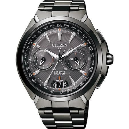 CITIZEN Eco-Drive 衛星對時鈦金屬腕錶-黑/48mm CC1085-52E