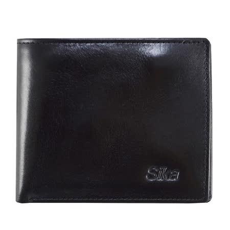 SIKA義大利素面牛皮質感中性短皮夾A8252-03沉穩黑