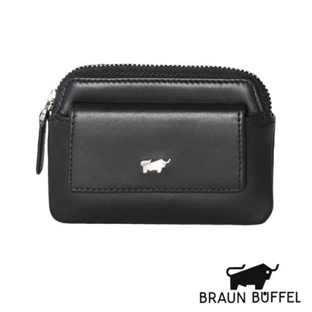 BRAUN BUFFEL 極簡系列素面拉鍊零錢鎖包(黑色)BF179-323-BK
