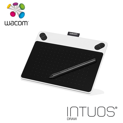 Wacom Intuos Draw 塗鴉 創意繪圖板-簡約白 CTL-490╱W0-CX