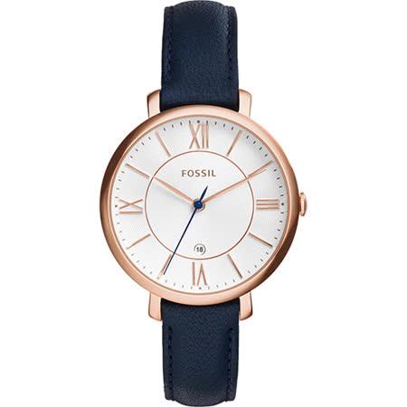 FOSSIL Jacqueline 羅馬佳人時尚女錶-玫瑰金框x深藍/36mm ES3843