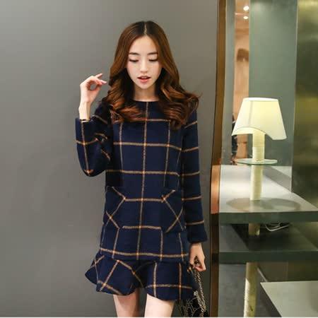 【Kate Classic 】清新格子荷葉裙襬毛呢長袖洋裝DS156
