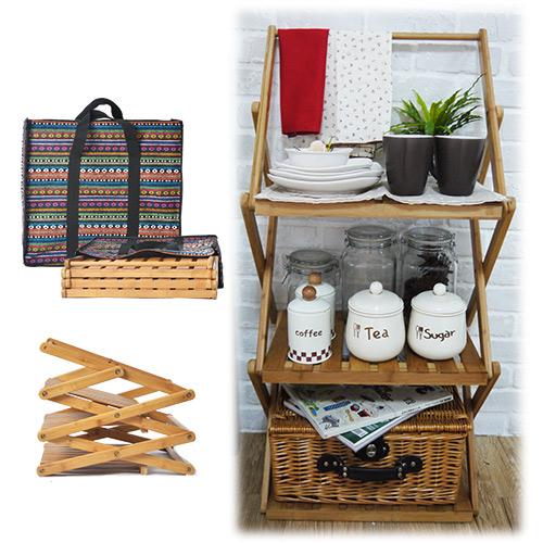 ~Homely Zakka~餐具食器三層摺疊竹製層架