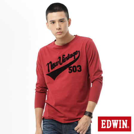 EDWIN 503植絨印花T恤-男-朱紅色