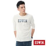 EDWIN 牛仔布紋印花T恤-男-米白色