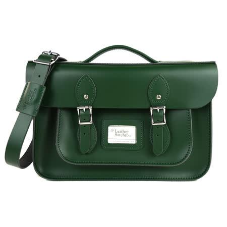 【The Leather Satchel Co.】14吋 英國手工牛皮劍橋包 手提包 肩背包 後背包多功能三用包 精湛工藝 新款磁釦設計方便開啟(郵差綠)