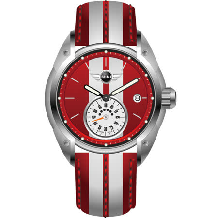 MINI Swiss Watches 雷霆奔馳獨立秒圈腕錶(紅白/45mm) MINI-70E