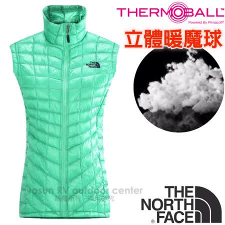 【美國 The North Face】女新款PrimaLoft ThermoBall暖魔球保暖背心.輕量柔軟.抗水快乾/媲美羽絨科技填充/CUD6 浪花綠