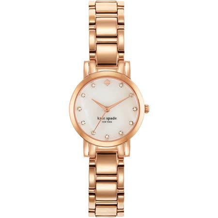 Kate Spade Gramercy 紐約甜心晶鑽腕錶-白x玫瑰金/25mm 1YRU0191