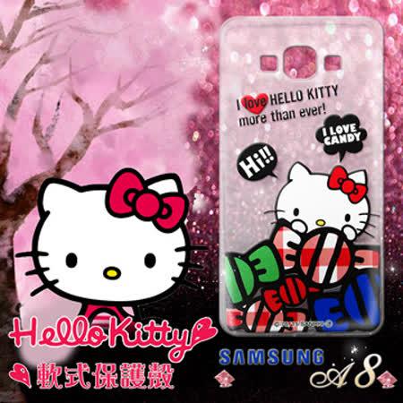 三麗鷗授權正版 Hello Kitty凱蒂貓 三星Samsung Galaxy A8 透明軟式手機殼(糖果HI)