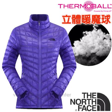 【美國 The North Face】女新款PrimaLoft ThermoBall暖魔球保暖外套.夾克.大衣.風衣/媲美羽絨科技填充/CUD5 星空紫