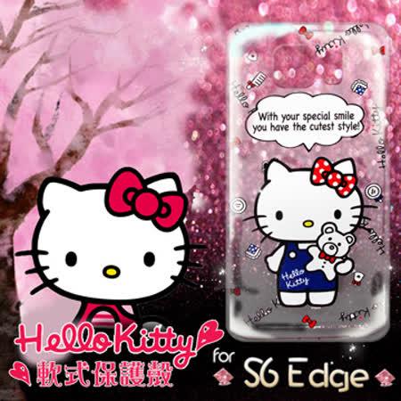 三麗鷗授權正版 Hello Kitty凱蒂貓 三星Samsung S6 edge 透明軟式手機殼(Kitty公仔)