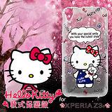 三麗鷗授權正版 Hello Kitty凱蒂貓 SONY Xperia Z3+ E6553 透明軟式手機殼(Kitty公仔)