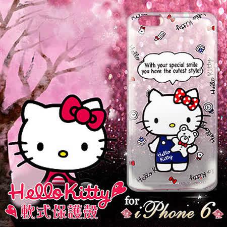 三麗鷗授權正版 Hello Kitty凱蒂貓 iPhone 6 4.7吋 I6 透明軟式手機殼(Kitty公仔)