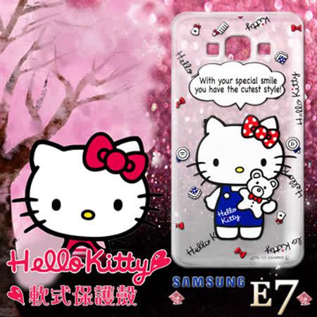 三麗鷗授權正版 Hello Kitty凱蒂貓 三星Samsung Galaxy E7 透明軟式手機殼(Kitty公仔)