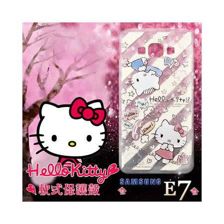 三麗鷗授權正版 Hello Kitty凱蒂貓 三星Samsung Galaxy E7 透明軟式手機殼(熱線Kitty)