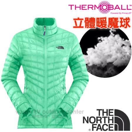 【美國 The North Face】女新款PrimaLoft ThermoBall暖魔球保暖外套.夾克.大衣.風衣/媲美羽絨科技填充/CUD5 浪花綠