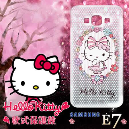 三麗鷗授權正版 Hello Kitty凱蒂貓 三星Samsung Galaxy E7 透明軟式手機殼(花邊Kitty)