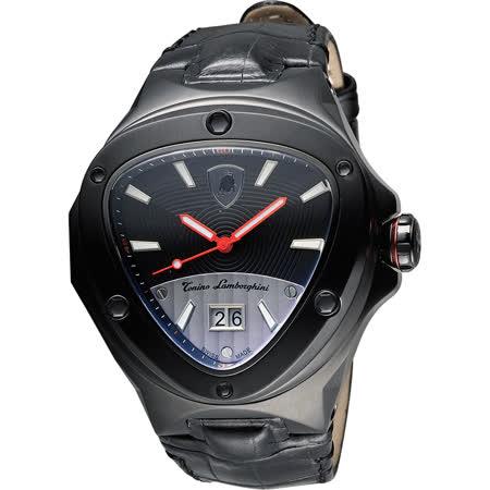 Tonino Lamborghini 藍寶堅尼 Spyder倒三角大日期腕錶-黑/48mm TL3036
