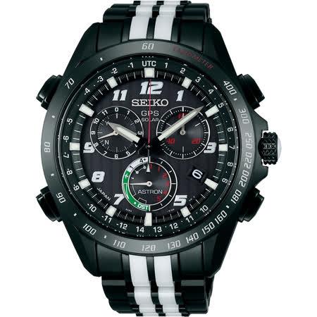 SEIKO ASTRON GPS限量衛星電波鈦計時碼錶-黑白/45mm 8X82-0AL0D(SSE037J1)