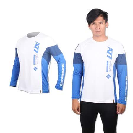 (男) ASICS 長袖T恤 - 路跑 慢跑 亞瑟士 白藍