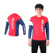 (男) ASICS 長袖T恤 - 路跑 慢跑 亞瑟士 紅藍白