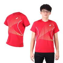 (男) ASICS 排球練習T恤 - 短袖T恤 短T 亞瑟士 紅白金