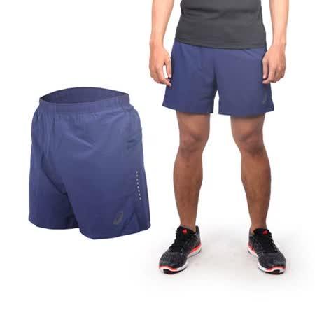 (男) ASICS 慢跑平織短褲 - 路跑 休閒短褲 亞瑟士 深藍銀