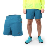 (男) ASICS 慢跑平織短褲 - 路跑 休閒短褲 亞瑟士 藍綠