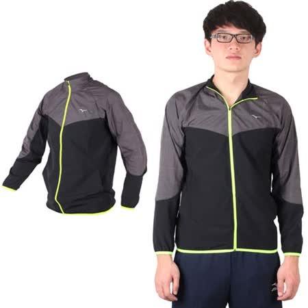 (男) MIZUNO 路跑風衣 - 慢跑 立領外套 運動外套 美津濃 黑深灰