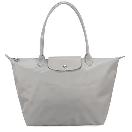 Longchamp 典雅質感長柄(大型)水餃包-灰色