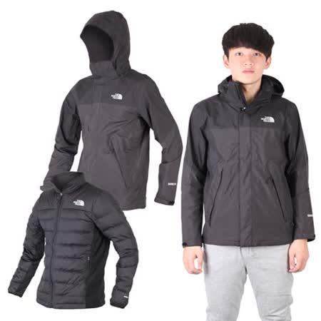 (男) THE NORTH FACE GT羽絨兩件式外套-保暖GORE-TEX 黑淺灰