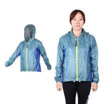 (女) MIZUNO 路跑風衣 - 慢跑 連帽外套 美津濃 格紋藍綠