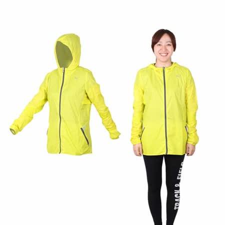 (女) PUMA 慢跑系列素色輕量連帽風衣外套 - 路跑 運動外套 芥末黃灰