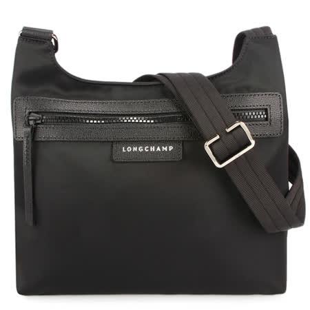 Longchamp Le Pliage Neo尼龍斜背郵差包-黑色